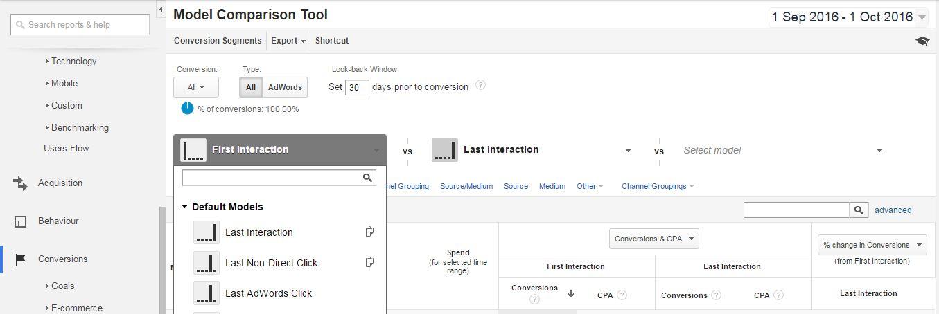 Google Analytics Model Comparison Tool